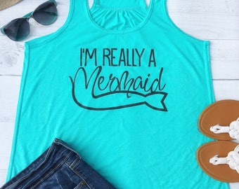 Mermaid Shirt, Beach Tank Top, Boating Gifts, Summer Outdoors, Womens Boat Shirt, sailing shirt, Mint Green, Beach Cover Up, S-XXL, FL11B
