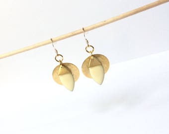 Earrings gold sequin, bo cream sequin, gold filled hooks