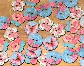 24 mm 2 hole wood buttons,Cute wood buttons,  Wooden Butterfly/flower buttons, 2-hole, mixed pattern, 10 or 20 pack