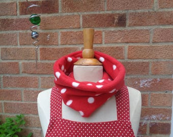 Red White Polka Dot Polar Fleece Cosy Scarf - Snood -  Loop Scarf - Winter Scarf - Warm Scarf - Neck Warmer - Adult - Children - Teenager