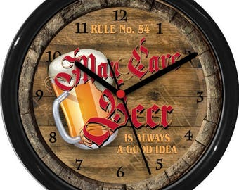 "Man Cave 2 Rule No 54  Beer Personalized 10"" Wall Clock Den  Man Cave Rec Room Bar"