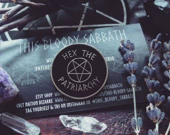 Hex the patriarchy enamel pin//Feminist pin//Witchy pin//Punk pin//Occult pin