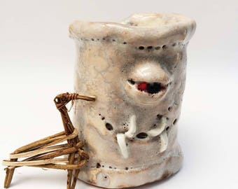 Lovecraftian Monster Cup, Primitive Clay Tumbler,16 oz Rustic Pottery Cup, Monster Eye, Mucous Monster, Toothed, Red Eyed, Slimy,