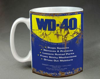 Rusty WD-40 Can Inspired Garage Mechanic Office Funny Parody Mug Meme Gift For Him Husband Boyfriend