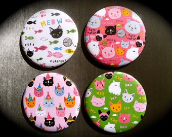 Set of 4 magnets 56 mms 'Cats'