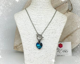 Collier Coeur Swarovski® - Bleu