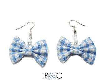 Earrings light blue Gingham Bow.