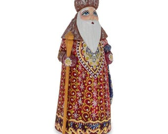 "6.5"" Hand Carved Wooden Russian Santa Claus Figurine"