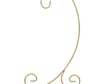 """9.5"""" Curved Gold Tone Twisted Brass Metal Ornament Stand"""