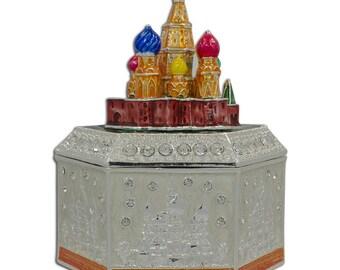 """4.25"""" Moscow Kremlin Russian Jewelry Trinket Box Figurine"""