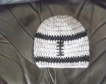 handmade gray and striped crochet football baby Hat Black ideal for cold weather