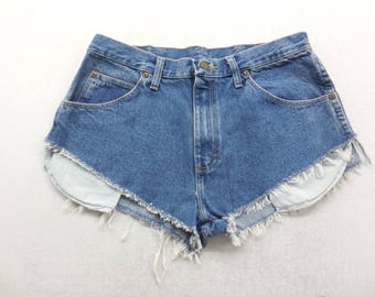 Womens Medium Wash Denim High Cut Off Jean Shorts Size 34 inch Waist