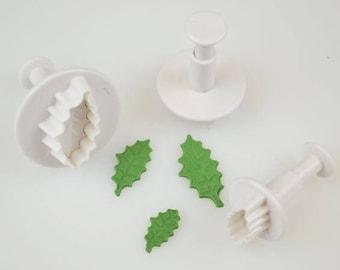 3 Holly Leaf Small Cutter Set