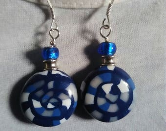 White and blue polymer clay earrings