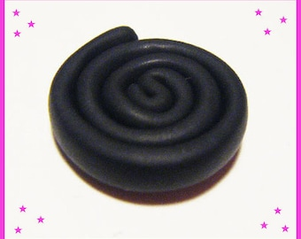 1 cabochon licorice candy treat polymer clay fimo