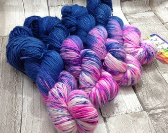 Hand dyed sock/DK yarn sparkle /4 ply/ 'Orb' superwash merino/nylon /stellina /double knitting wool/crochet yarn wool