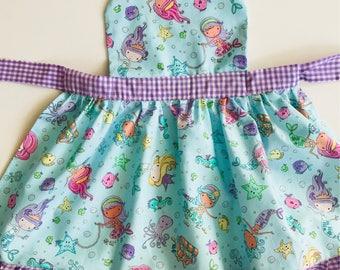 Mermaid apron, childs apron, girl apron