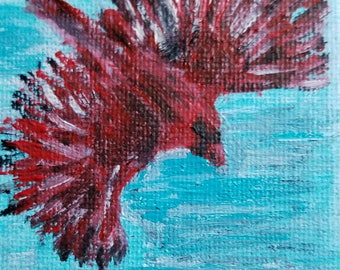 Cardinal on the Wing (Miniature Acrylic Painting with Easel)