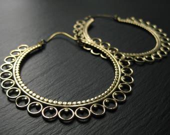 Jumbo Statement Hoop Earrings . Gold Brass . Big Hoops . Boho Chic Tribal Gypsy . FREE SHIPPING Canada . Flat Rate Worldwide . zarishop