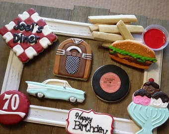 50s Diner- Hamburger and Fries - Juke Box  - '57 Chevy - Record Cookies