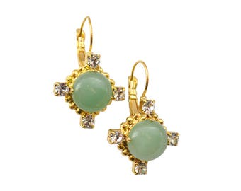 GREEN AVENTURINE & CRYSTAL Earring