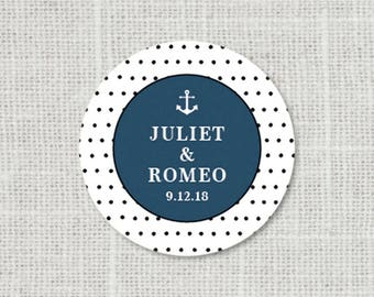 Save the Date Nautical Wedding Stickers, Anchor Save the Date Stickers, Nautical Wedding Label, Nautical Save the Date Thank You Stickers