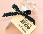 Crystal Bottle Stopper - with Two Jaynes tag