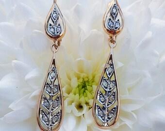 Antique Edwardian Style 9ct Rose Gold & Diamond Garland Drop Earrings