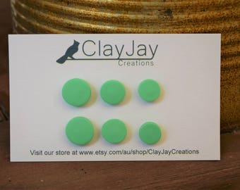 Mint green Polymer clay stud earrings