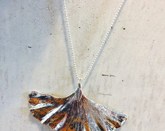 Silver Gingko necklace - thin silver plated on chain silver plated - assured elegance and sophistication!