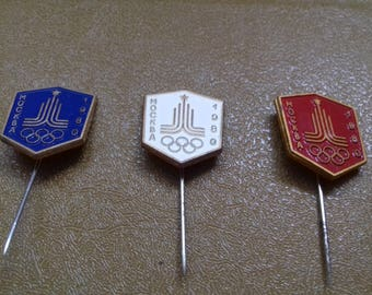Lot of 3 vintage pin badge from the XXII Olympic Games Moscow 80