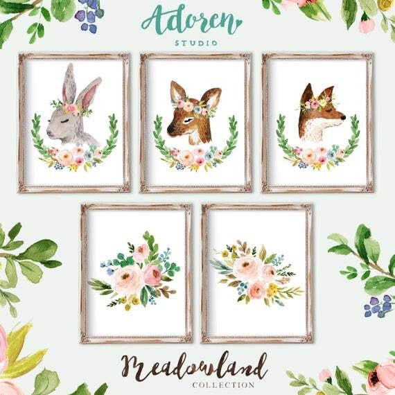 Woodland Nursery Decor, Girl Woodland Nursery, Woodland Nursery Girl, Boho Woodland Girl Nursery Animal Nursery Decor Wall Art Flower Crown