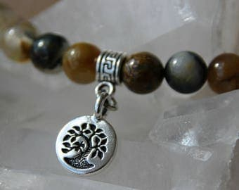 tree of life charm and Indian agate bracelet