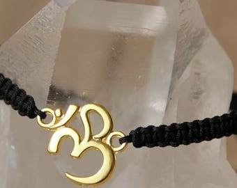 OM connector gold shamballa bracelet