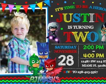 Pj Mask Invitation Birthday Pj Mask Party Pj Mask Printable Mask Invitation Pj Invitation