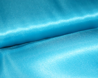 Turquoise Blue Satin Fabric by the yard, bow making satin, decoration fabric, wedding satin, birthday party, anniversary, dress fabric, blue