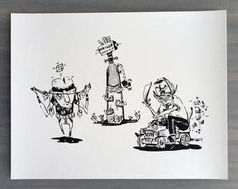 "Inktober 01 Art Print    8.5x11""    Black and white print, ink illustration, archival"