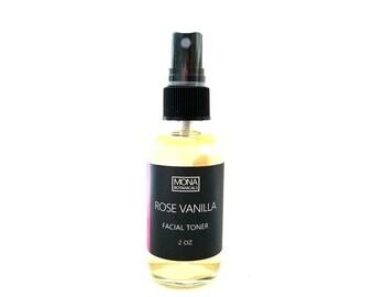 Rose Vanilla Facial Toner ( all skin types)- Facial Mist, Facial Spray, Hydrating and Brightening, Organic Skin Care