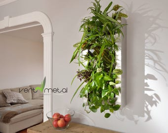Stainless steel indoor/outdooor living wall 14'' x 30'' (vertical planter) for tropical plants/herbs
