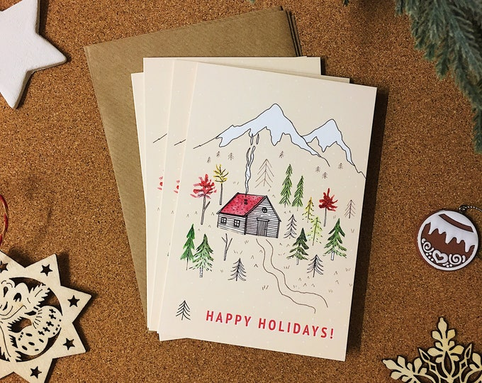 Happy Holidays Christmas Card Set - Pack of 4