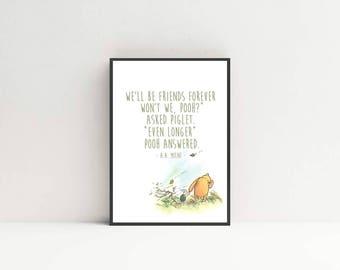 Winnie the Pooh Print- Winnie the Pooh quote - Nursery Print