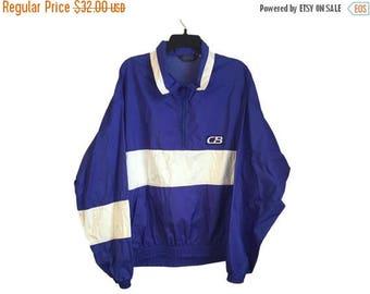 SALE Vintage CB Sport Blue and White Windbreaker Jacket Large/X-Large Free Shipping!
