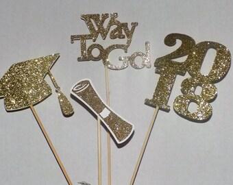 Gold 2018 Graduation Centerpiece,  2018 Graduation Party Decoration, 2018 Graduation Decor, Commencement, 2018 Graduation.