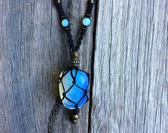 Opalite crystal macrame necklace