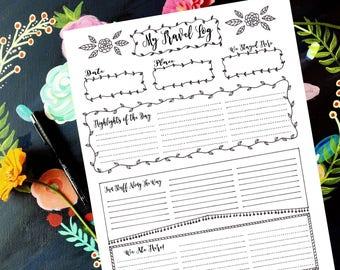 Travel Bujo, Printable Bujo, Hand drawn Planner, Travel Tracker, Travel Log, Bujo Blank Box, Bujo Planner