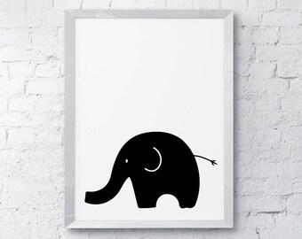 Hand drawn, monochrome, elephant, Printable, Scandinavian style Art