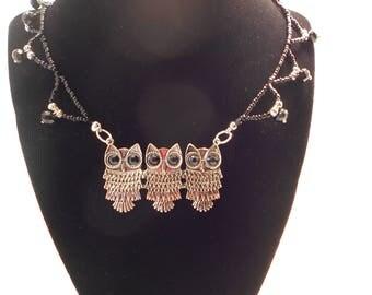 Three Silver Owls Black Beaded Collar Necklace
