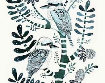 Petrol Kookaburras & Banksia. Large A2 Limited Edition, Signed Giclée Print. Australian Birds, Botanical, Tree, Native, Feathers, Nature