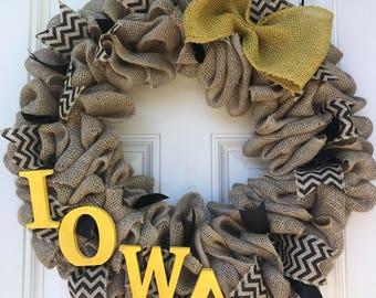 Iowa Hawkeyes Wreath