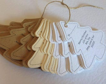 Personalised Christmas Tree shaped tags